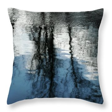 Blue And White Reflections Throw Pillow