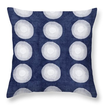 Blue And White Shibori Balls Throw Pillow