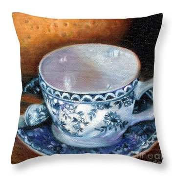 Blue And White Teacup With Spoon Throw Pillow