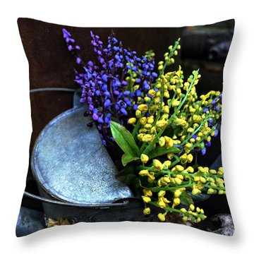 Blue And Yellow Flowers Throw Pillow by Mary Machare