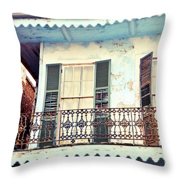 Throw Pillow featuring the photograph Blue And Yellow House by Sylvia Cook