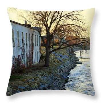 Throw Pillow featuring the photograph Blue And Yellow Morning by Viviana  Nadowski