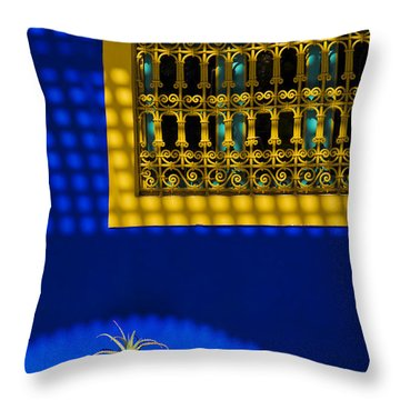 Blue And Yellow Patterns Throw Pillow