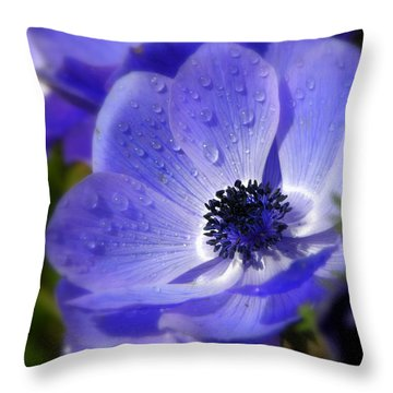 Blue Anemone Throw Pillow by Martina  Rathgens