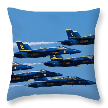 Blue Angels Throw Pillow by Adam Romanowicz