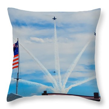 Blue Angels Bomb Burst In Air Over Fort Mchenry Finale Throw Pillow