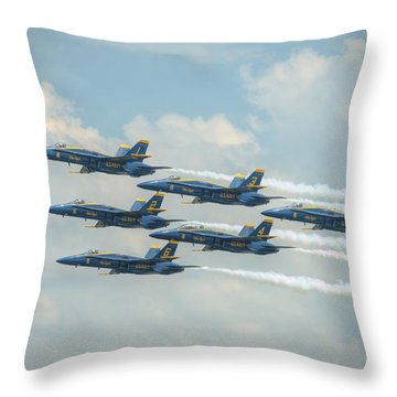 Throw Pillow featuring the photograph Blue Angels Delta Pass by Jeff Cook