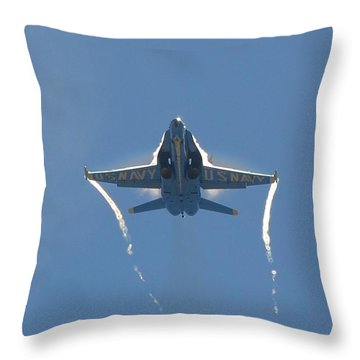 Blue Angels Ghost Appears Head-on Over Pensacola Beach Throw Pillow by Jeff at JSJ Photography