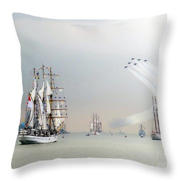 Blue Angels Over Ships N.y.c. Throw Pillow by Ed Weidman