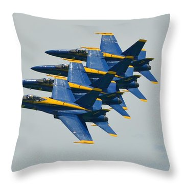 Throw Pillow featuring the photograph Blue Angels Practice Echelon Formation by Jeff at JSJ Photography