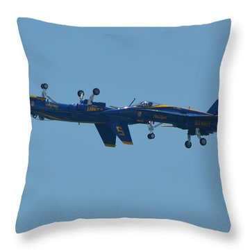 Blue Angels Practice Up And Down With Low And Slow Throw Pillow by Jeff at JSJ Photography
