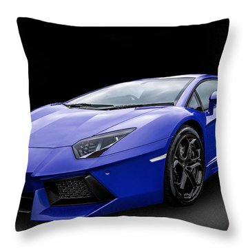 Blue Aventador Throw Pillow
