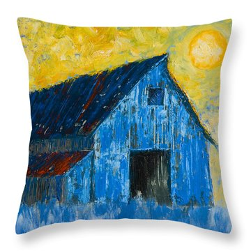 Blue Barn Number One Throw Pillow by Jerry McElroy