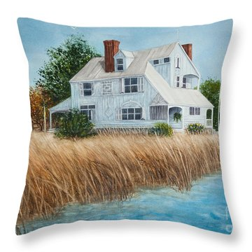 Blue Beach House Throw Pillow