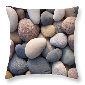 Blue Beach Stones Throw Pillow by Kathi Mirto