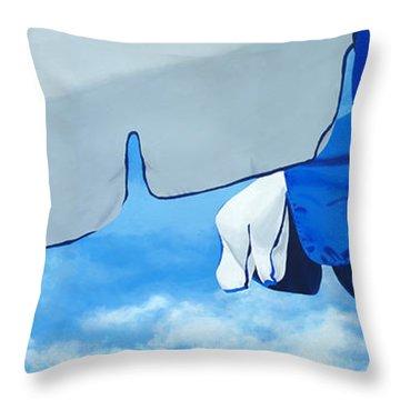 Blue Beach Umbrellas 2 Throw Pillow