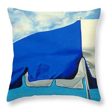 Blue Beach Umbrellas 1 Throw Pillow