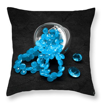 Blue Beads And Topazes Throw Pillow