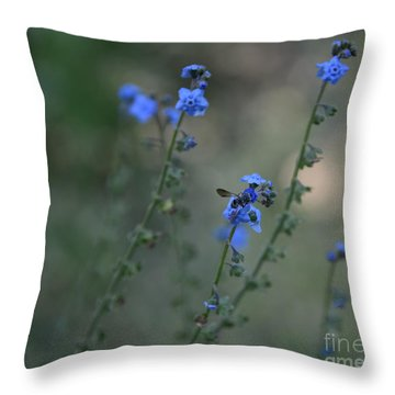 Blue Bee Throw Pillow by Tamera James