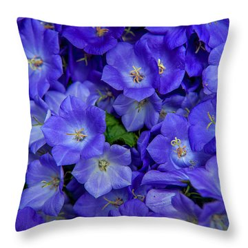 Blue Bells Carpet. Amsterdam Floral Market Throw Pillow