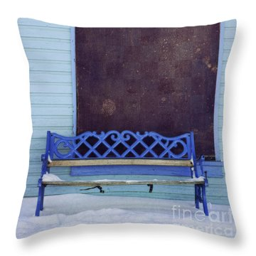 Blue Bench Throw Pillow by Priska Wettstein