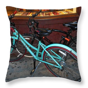 Throw Pillow featuring the photograph Blue Bianchi Bike by Joan Reese
