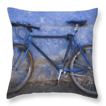Blue Bike Blue Wall Painterly Effect Throw Pillow