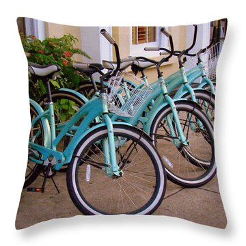 Blue Bikes Throw Pillow by Rodney Lee Williams