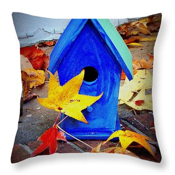 Throw Pillow featuring the photograph Blue Bird House by Rodney Lee Williams