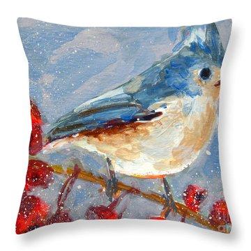 Blue Bird In Winter - Tuft Titmouse Modern Impressionist Art Throw Pillow