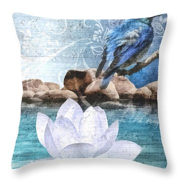 Blue Bird Throw Pillow by Mo T
