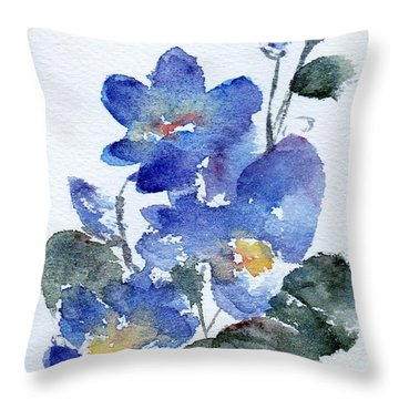 Throw Pillow featuring the painting Blue Blooms by Anne Duke