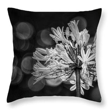 Blue Blooms B/w Throw Pillow