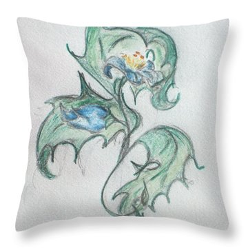 Blue Blossom 2 Throw Pillow