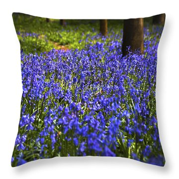 Blue Blue Bells Throw Pillow by Svetlana Sewell