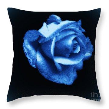 Blue Blue Rose Throw Pillow