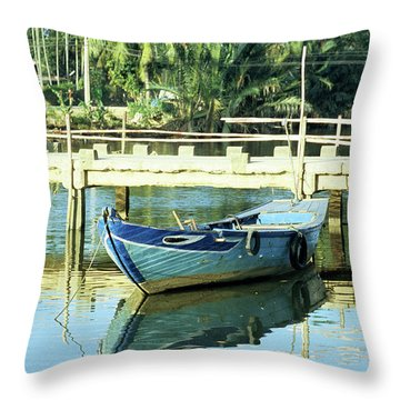 Blue Boat 02 Throw Pillow