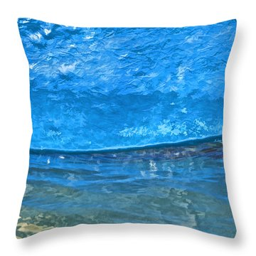 Blue Boat Abstract Throw Pillow
