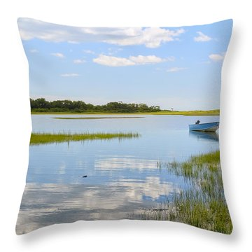 Blue Boat In The Backwaters Throw Pillow