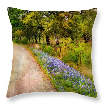 Blue Bonnet Path Throw Pillow