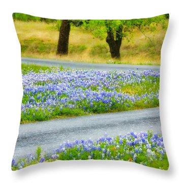 Blue Bonnets Throw Pillow by Joan Bertucci
