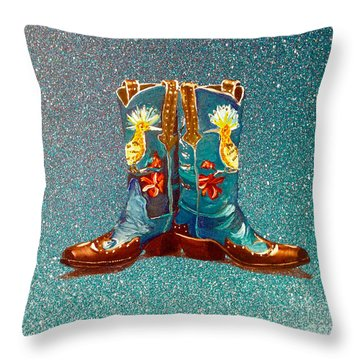 Blue Boots Throw Pillow