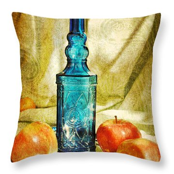 Blue Bottle With Apples Throw Pillow