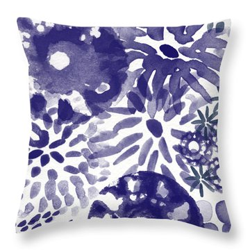 Blue Bouquet- Contemporary Abstract Floral Art Throw Pillow