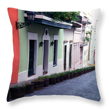 Blue Brick Street Old San Juan Throw Pillow by Thomas R Fletcher