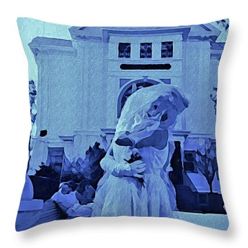 Blue Bride Throw Pillow by John Malone