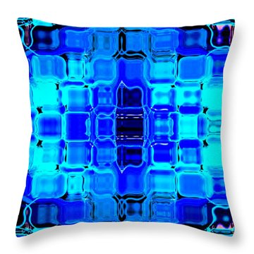 Throw Pillow featuring the digital art Blue Bubble Glass by Anita Lewis