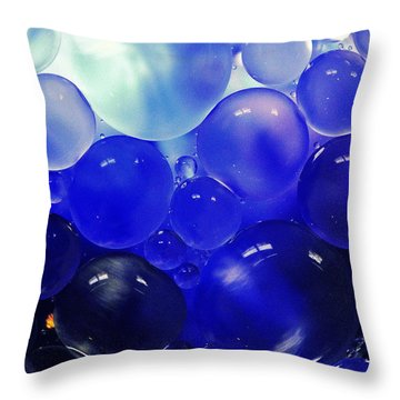 Blue Bubbles II Throw Pillow by Christine Ricker Brandt