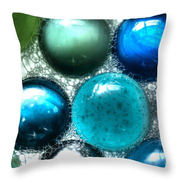 Blue Bubbles Throw Pillow