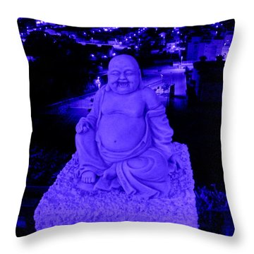 Blue Buddha And The Blue City Throw Pillow